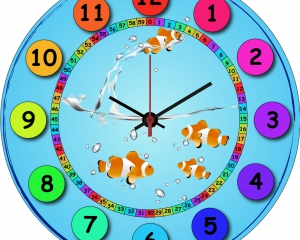 Reloj metacrilato modelo peces