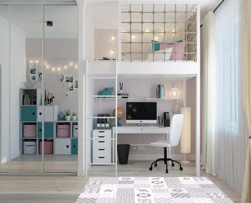 Habitación alfombra vinilica formas